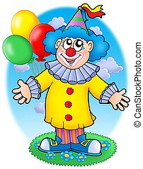 Smiling clown with balloons - color illustration.