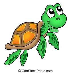 Smiling little sea turtle - color illustration