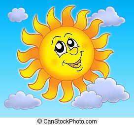 Smiling Sun on blue sky - color illustration.