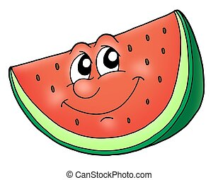 Smile watermelon - Slice of watermelon - color illustration.