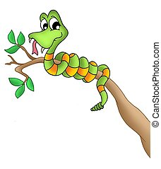Snake on branch - color illustration