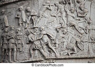 Trajan column in Rome - Basrelieves in the Trajan column in...