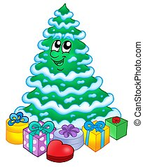 Snowy Christmas tree with gifts - color illustration.