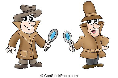 Two detectives with glasses - color illustration.
