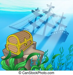 Treasure chest with shipwreck - color illustration.