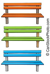 Three various benches - color illustration