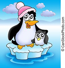 Two penguins on iceberg - color illustration.