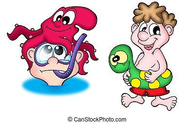 Two swimmers - Two small swimmers -  color illustration.