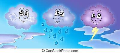 Błękitny, niebo, różny, chmury