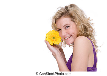 Woman with a flower - Full isolated portrait of a beautiful...