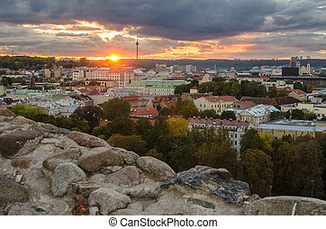 Autumn in Vilnius, Lithuania. The view from Hill of Upper...