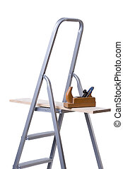 Ladder and wood plane - Full isolated studio picture from a...