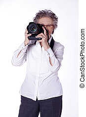 old woman photographer