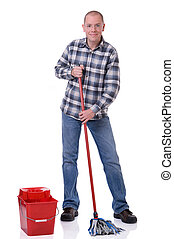 Man with bucket and mop - Full isolated studio picture from...
