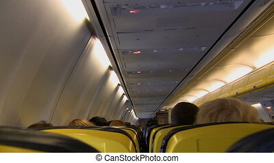 Aircraft cabin in flight - Inside passenger aircraft cabin...
