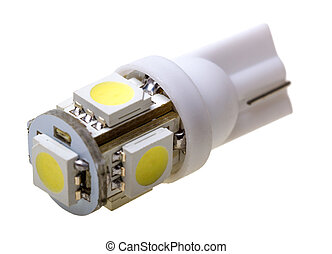Led lamp for auto with 5 LEDs isolated on the white...