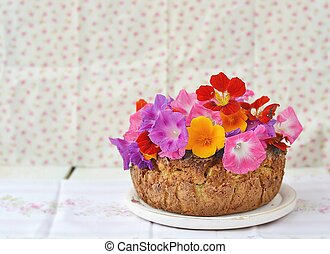 rhubarb pie - rhubarb and apples pie with flowers