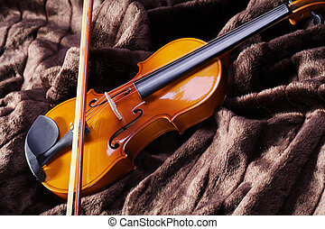 violin on bed