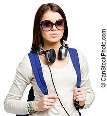 Teenager with rucksack and headphones