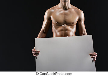 pelado, esportiva, homem, mãos, copyspace