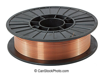 Copper wire on spool, isolated on white backgrounds, with...