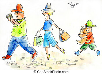 Family of tourists sightseeing - Watercolor illustration of...