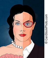 Double identity - Portrait of a contemporary woman, divided...