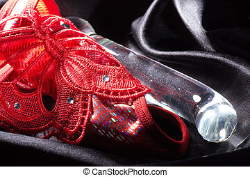 glass dildo in satin with slip