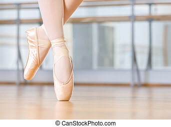 Closeup of dancing legs of ballerina in pointes - Closeup of...