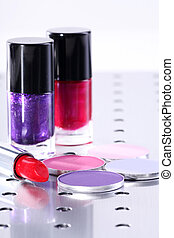 eyeshadow, lipstick and nail polish