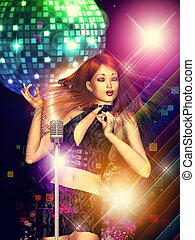 Girl with retro microphone - Illustration of a dancing girl...