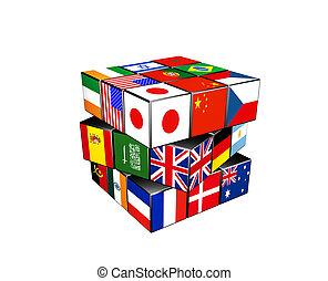 värld, problem, kub, flaggan, 3