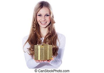 Sexy, santa, mujer, regalos, caja