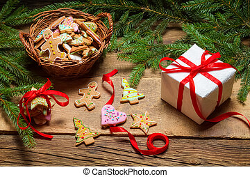 Christmas gingerbread and a small gift
