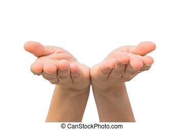 deux,  copyspace, mains