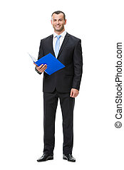 Full-length portrait of business man with documents -...