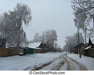 winte rural landscape - Winter landscape with rural street...