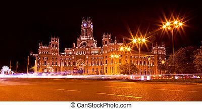 Cibeles Square at Night, Madrid - Cibeles Square at Night in...