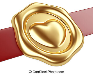 Gold seal with heart and red ribbon - 3d illustration Gold...