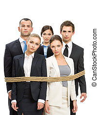 Group of managers tied with rope, isolated on white. Concept...