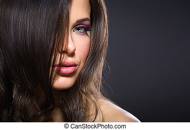 Portrait of beautiful girl with brilliant makeup - Portrait...