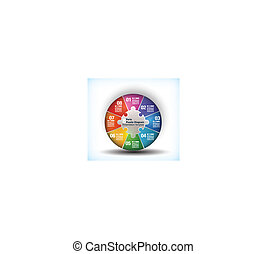 8 sided business wheel chart with place for text and...