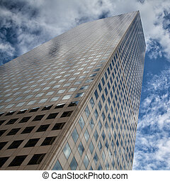 Looking up - skyscraper in Denver - Detail of futuristic...
