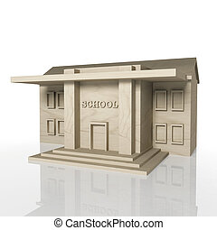 3D render of school building with reflection,isolated on...