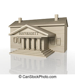 3D render of university building with reflection,isolated on...