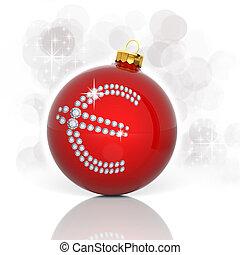Christmas ball with diamond euro sign