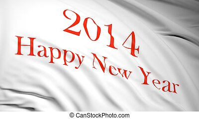 Happy new year 2014 written on white waving flag with red...