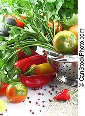 legumes, branca, isolado,  colander