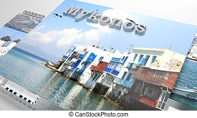 Mykonos places to visit in slideshow like set photos and 3d...