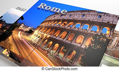 Italy sightseeing in slideshow like set photos and 3d text